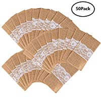 handrong 50Pcs Natural Burlap Lace Silverware Napkin Holder Knife Fork Cutlery Pouch 4 x 8 Inch Tableware Utensils Bag for Rustic Wedding Party Bridal Baby Shower Christmas Favor Decorations Gifts
