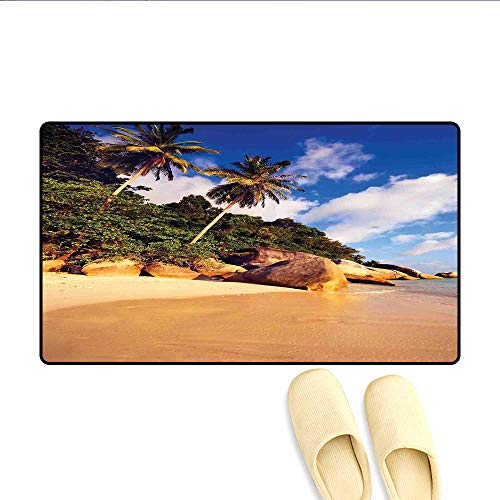 (Door-mat Tropical Beach Serenity in Nature Exotic Fruit Coconut Rocks Seascape Print Bath Mats for Floors Green Brown)