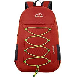 Lightweight Portable Sports Daypack Water Resistant Hiking Backpack for Outdoor Camping Travel (Red)