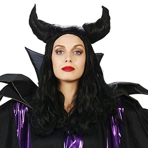 Black Horned Magnificent One Adult Wig (Horns Costume Wig)