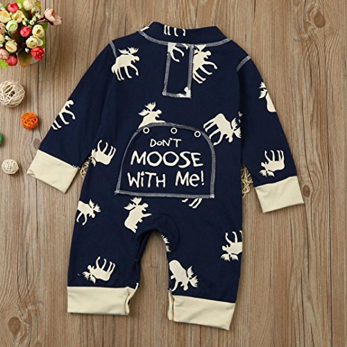 Elevin(TM) Don't Moose With MeNewborn Baby Girls Boys Winter Long Sleeve Deer Romper Jumpsuit Playsuit Outfit