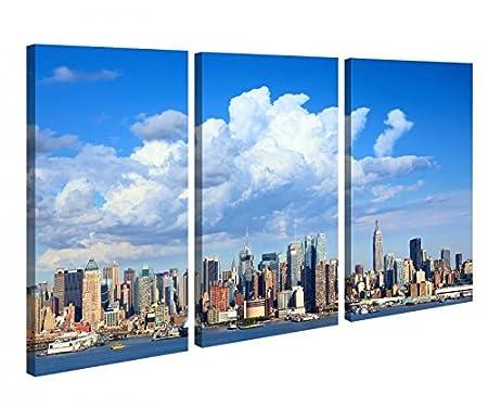 Leinwandbild 3 Tlg Manhattan Skyline New York USA Leinwand Bild Bilder  Canvas Holz Fertig Gerahmt 9U141