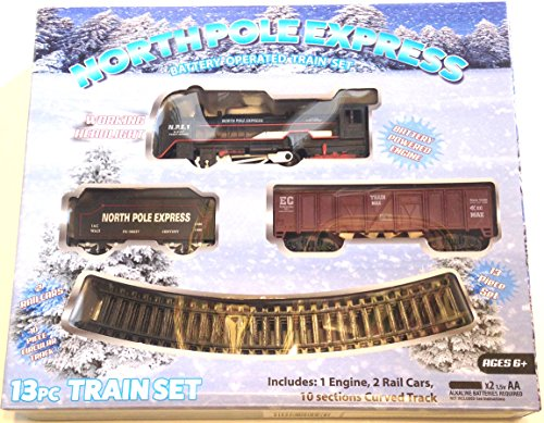 North Pole Express Battery Operated Christmas Holiday Train Set 13 piece