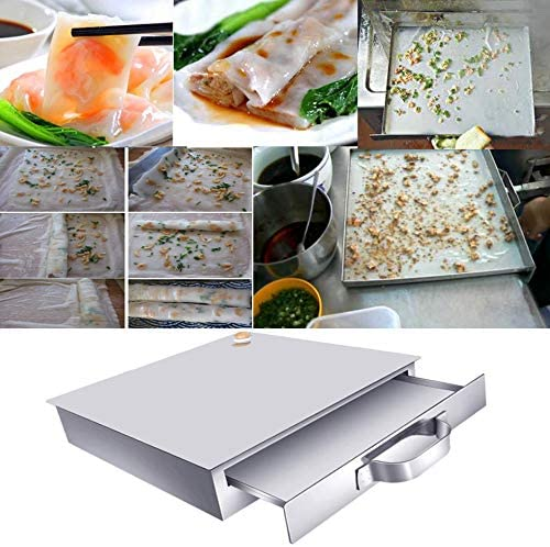 E-KEYWAY Chinese Rice Noodle Roll Food Steamer with Extra Tray Stainless Steel Square Tier/Layer Cooking Cuisine Guangdong Recipes Cookware (Tier 1)