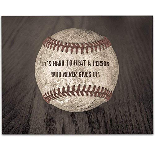 - Baseball - It's Hard To Beat A Person Who Never Gives Up - 11x14 Unframed Art Print - Great Bot/Girl's Room Decor and Gift for Baseball Fans
