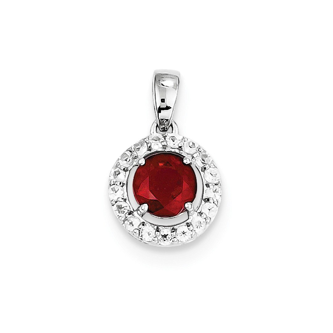 ICE CARATS 925 Sterling Silver White Topaz Glass Filled Red Ruby Pendant Charm Necklace Gemstone Fine Jewelry Ideal Mothers Day Gifts For Mom Women Gift Set From Heart