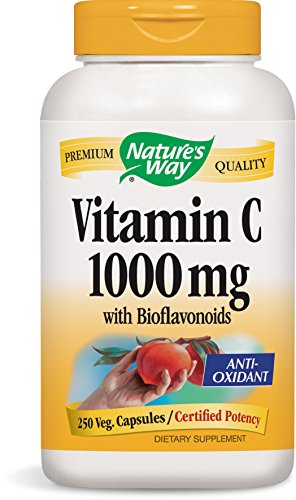- Nature's Way Vitamin C 1000 mg with Bioflavonoids; 1000 mg Vitamin C per serving; 250 Vegetarian Capsules