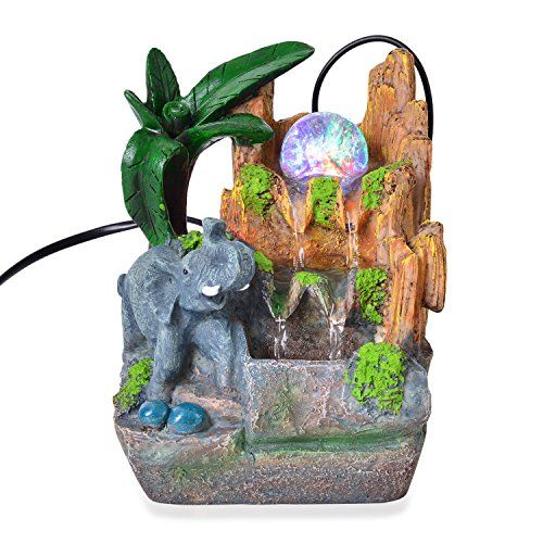 Shop LC Multi Color Glass LED Light Elephant's Waterfall Fountain Home 4.5x4x7.5'' by Shop LC