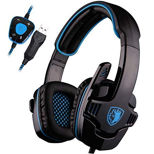 SADES SA901 PC Gaming Headset 7.1 Surround Sound Headphones Noise Canceling Noise Cancelling Gaming Headphones with Microphone and Deep Bass Volume Control (Blue)