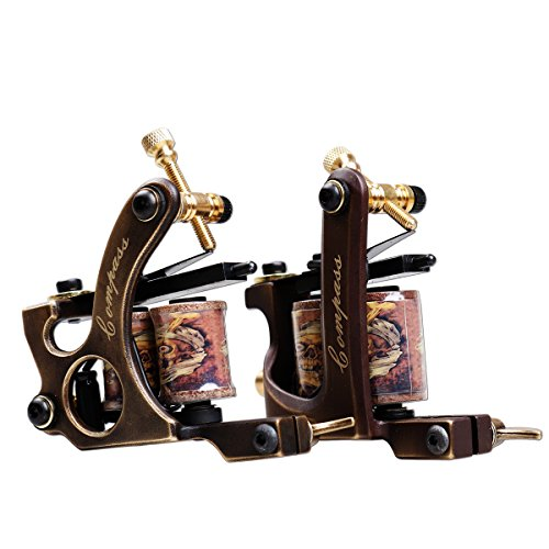 Dragonhawk 2pcs Brass Coils Tattoo Machine Straight Shader Circle Liner (Tattoo Machine Gun)
