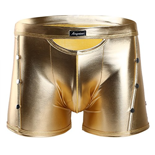 TiaoBug Mens Shiny Rivets Patent Leather Cutout Boxer Briefs Bikini Shorts