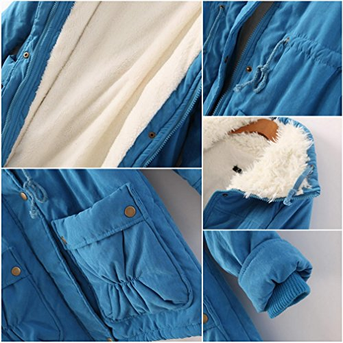 Woman Puffer Jacket Winter Quilted Coat Bigood Parkas Hooded Blue Padded Casual axZpn5fq
