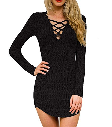DREAGAL Womens Plunge Neck Lattice Lace Up Long Sleeve Bodycon Mini Dress