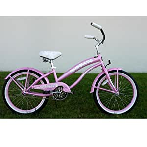 "Kids Bikes ""Pink"" Girls Beach Cruiser 20"" Extended Frame"