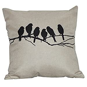 CCTUSGSH Hot Sale Trees And Birds Cotton Throw Pillow Case Cushion Cover 16 X 16 Inches One Side