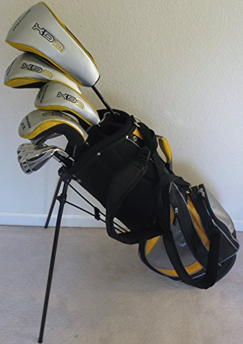 Mens Complete Golf Club Set Driver, Fairway Wood, Hybrids, Hybrid Irons, Putter & Stand Bag