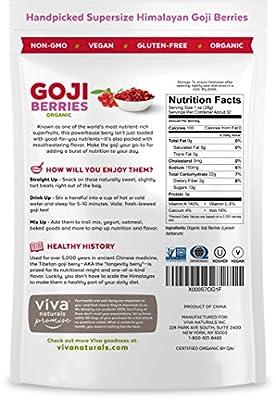 Viva Labs #1 Premium Himalayan Organic Goji Berries, Noticeably Larger and Juicier
