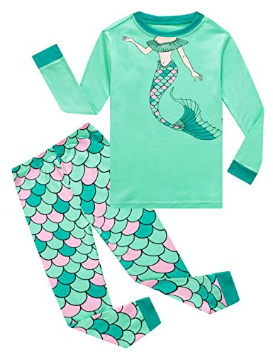 Family Feeling Big Girls Mermaid Long Sleeve Pajamas Sets 100% Cotton Pyjamas Kids Pjs Size 14 Green