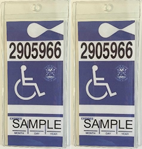 SecurePro Products Two Handicap//Disabled Placard Protective Premium Quality Plastic Holders with Two Stainless Steel Attachment Hooks for Rear View Mirror; Made in The USA Security Products Company 2-Pk-SPS-Handicap/_Placard/_Holder