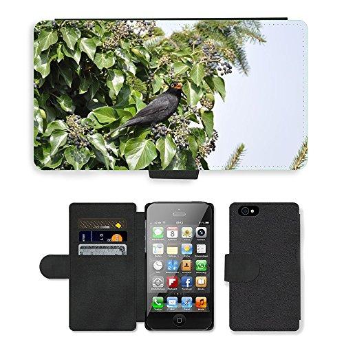 Just Phone Cases PU Leather Flip Custodia Protettiva Case Cover per // M00128863 Blackbird oiseau mange // Apple iPhone 4 4S 4G