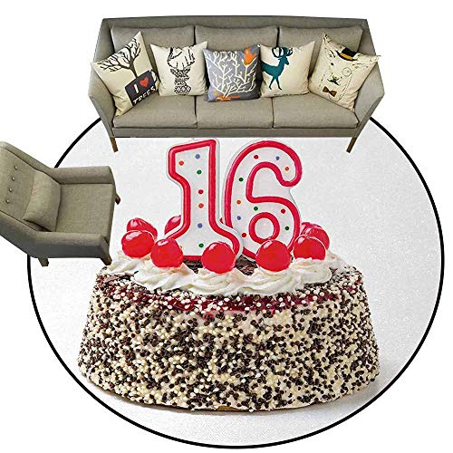 16th Birthday,Office Chair Floor Mat Foot Pad D48 Delicious Cake with Burning Candlestick and Cherry Yummy Tasty Dessert Image Carpet Multicolor