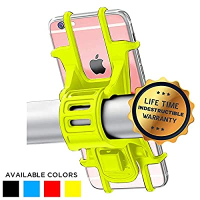 Universal Bike Phone Holder, Bicycle Handlebar Stroller Scooter Cell Phone Mount for iPhone 8 7 6S Plus 5 SE Samsung Galaxy S8 S7 Note 6, 4 to 6 Inch (Yellow)