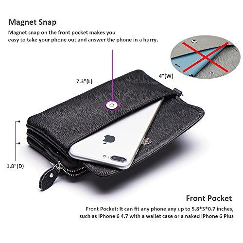 Slots Card Befen Wristlet Wrist Clutch Crossbody Strap Black Shoulder with Leather Smartphone Wallet Strap SnAUnwq68