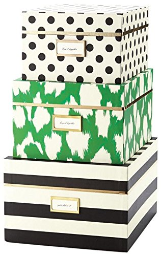 Gentil Kate Spade New York Nesting Boxes (Set Of 3), Black Stripe/Painterly