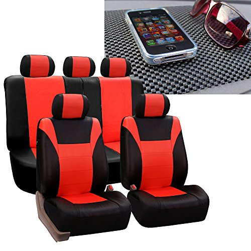 - FH Group FH-PU003115 Racing PU Leather Car Full Set Tangerine/Black Seat Covers, Airbag Ready and Split w. FREE FH1002 Non-Slip Dash Pad- Fit Most Car, Truck, Suv, or Van