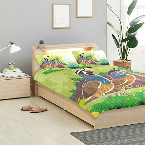 Animal Quail Bird Duvet Cover Set Twin Size Soft Quilt Cover Decorative Bedding Sets for Girl Boy Kids Teen 1 Duvet Cover 2 Pillowcases Crystal Velvet