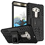 Heartly Asus Zenfone 3 Deluxe ZS570KL Back Cover Kick Stand Rugged Shockproof Tough Hybrid Armor Dual Layer Bumper Case - Matte Black