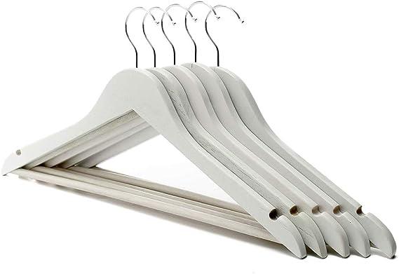 5pcs Madera Percha Antideslizante Capa Del Juego De Prendas De Vestir Camisa Blanca Pantalones Rack 22,5 Cm 44,5 X
