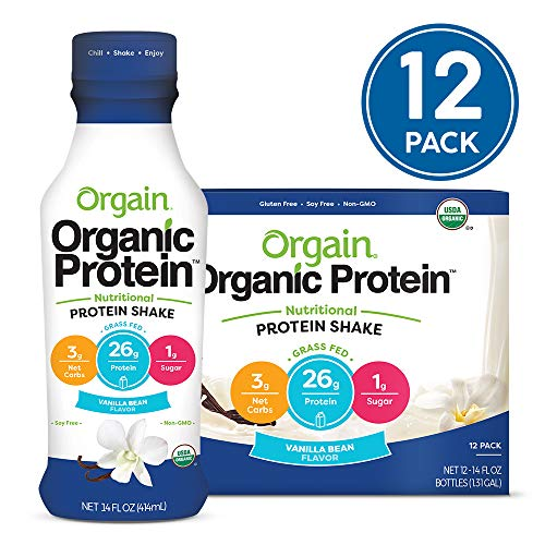 Orgain Organic 26g Grass Fed Whey Protein Shake, Vanilla Bean - Meal Replacement, Ready to Drink, Low Net Carbs, No Sugar Added, Gluten Free, Non-GMO, 14 Ounce, 12 Count