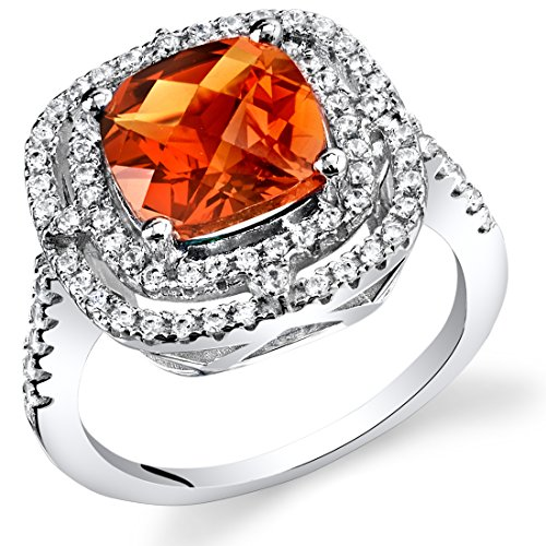 Created Padparadscha Sapphire Cushion Cut Cocktail Ring Sterling Silver 3.00 Carats Size ()