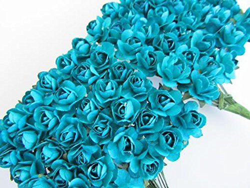 Sorive® 144pc Beautiful Artificial Paper Rose Flower Wedding Card Embellishment (Turquoise)