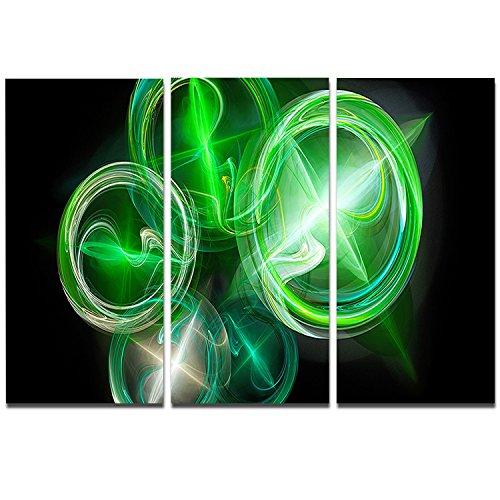 Designart Green in Black Fractal Desktop Wallpaper-Abstract Digital Metal Wall Art-MT8014-36x28 3 Panels, 36x28