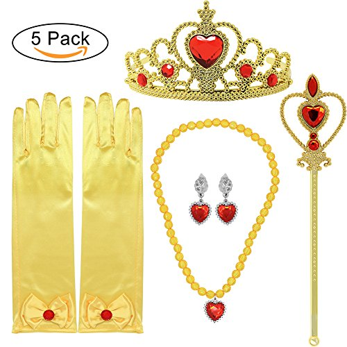 Princess Dress up Accessories 5 Pieces Gift Set for Belle Crown Scepter Necklace Earrings Gloves Yellow - Princess Costumes Accessories