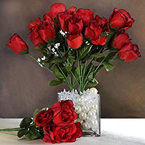 Efavormart 84 Artificial Buds Roses for DIY Wedding Bouquets Centerpieces Arrangements Party Home Decoration Supply – Black and Red