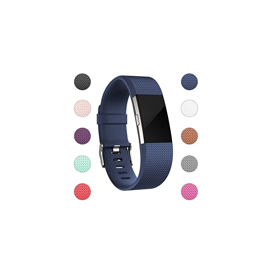 iGK For Fitbit Charge 2 Bands, Adjustable Replacement Bands with Metal Clasp for Fitbit Charge 2 Wristbands Classic Edition Navy Large