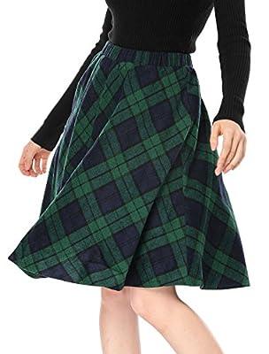 Allegra K Women's Plaids Elastic Waist Knee Length A Line Skirt