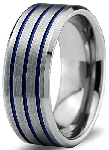 Edge Designer Wedding Ring (Tungsten Wedding Band Ring 8mm for Men Women Blue Grey Beveled Edge Brushed Polished Size 11 )
