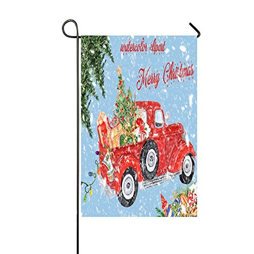 Feddiy Watercolor Clipart Merry Christmas Red Truck Garden Flag House Flag Decoration Double Sided Flag 12 x 18 inch