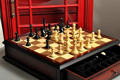 Carved Library - The Reykjavik II Series Library Chess Set and Tiroir Combination - Ebonized Boxwood and Natural Boxwood