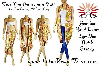 d08e6e8ebb59d Amazon.com: Hand Dye Batik Sarong, Pareo/ Scarf - 1860 By Lotus Resort Wear:  Home & Kitchen