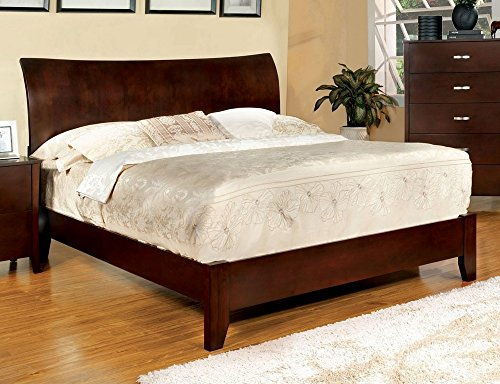 Cherry Contemporary Bed Set - Midland Contemporary Style Brown Cherry Finish Eastern King Size Bed Frame Set