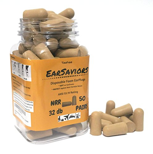 EarSaviors Premium Soft Foam Ear Plugs - Brown- 50 Pairs of 32db NRR- Disposable Earplugs - Recommended Hearing Protection for Work, Sleeping, Flying, Racing, Hunting, and Loud Noises by Taahaa (Image #2)