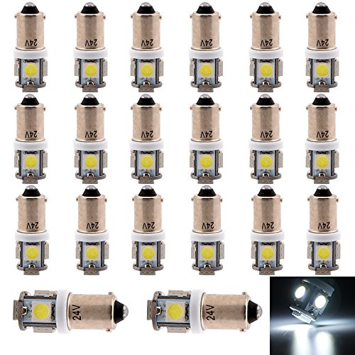 EverBrightt 20-Pack DC 24V White BA9S 5050 5SMD Led License Plate Light Bulb for Car Replacement Lights Door Light