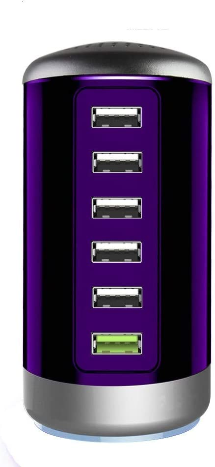 Quick Charge 3.0 USB Wall Charger 6 Ports Desktop QC 3.0 USB Hub Charging Station Multi USB Charger Fast Charging Compatible with Phones,Tablets Smartphones and More(Purple)
