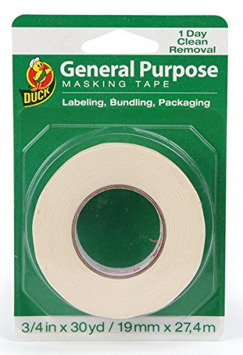 Duck Brand 394706 General Purpose Masking Tape, 0.75-Inch by 30-Yard, Single Roll, Beige