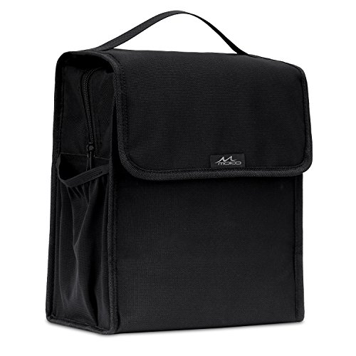 MoKo Insulated Lunch Bag, Reusable Cooler Tote Bag, Collapsible Multi-use Lunch Box, Thermal Lunch Sack with Zipper Closure for Travel Picnic School Office, Black (Sound Insulator Stand)